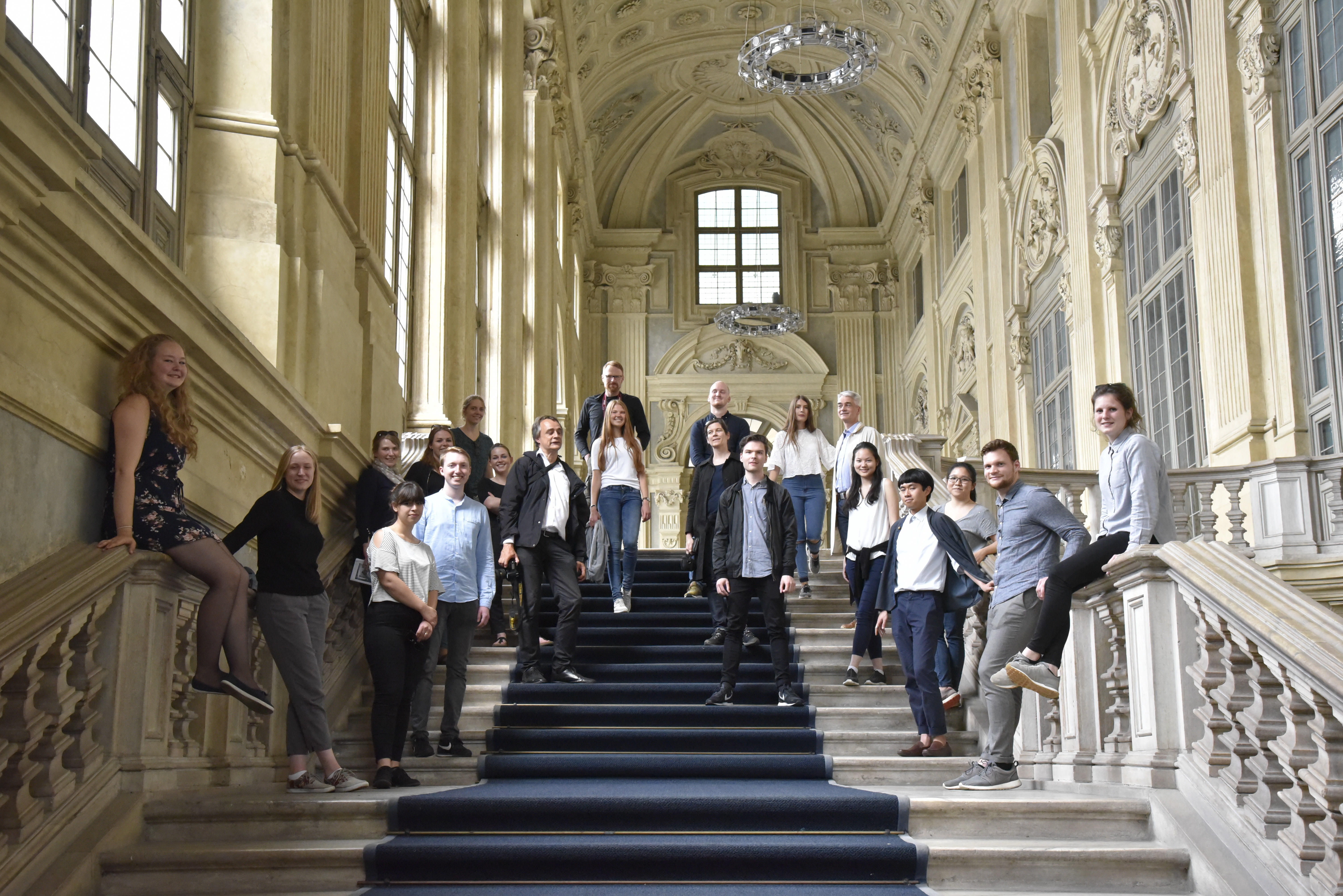 Group photo in the staircase of Palazzo Madama in Turin