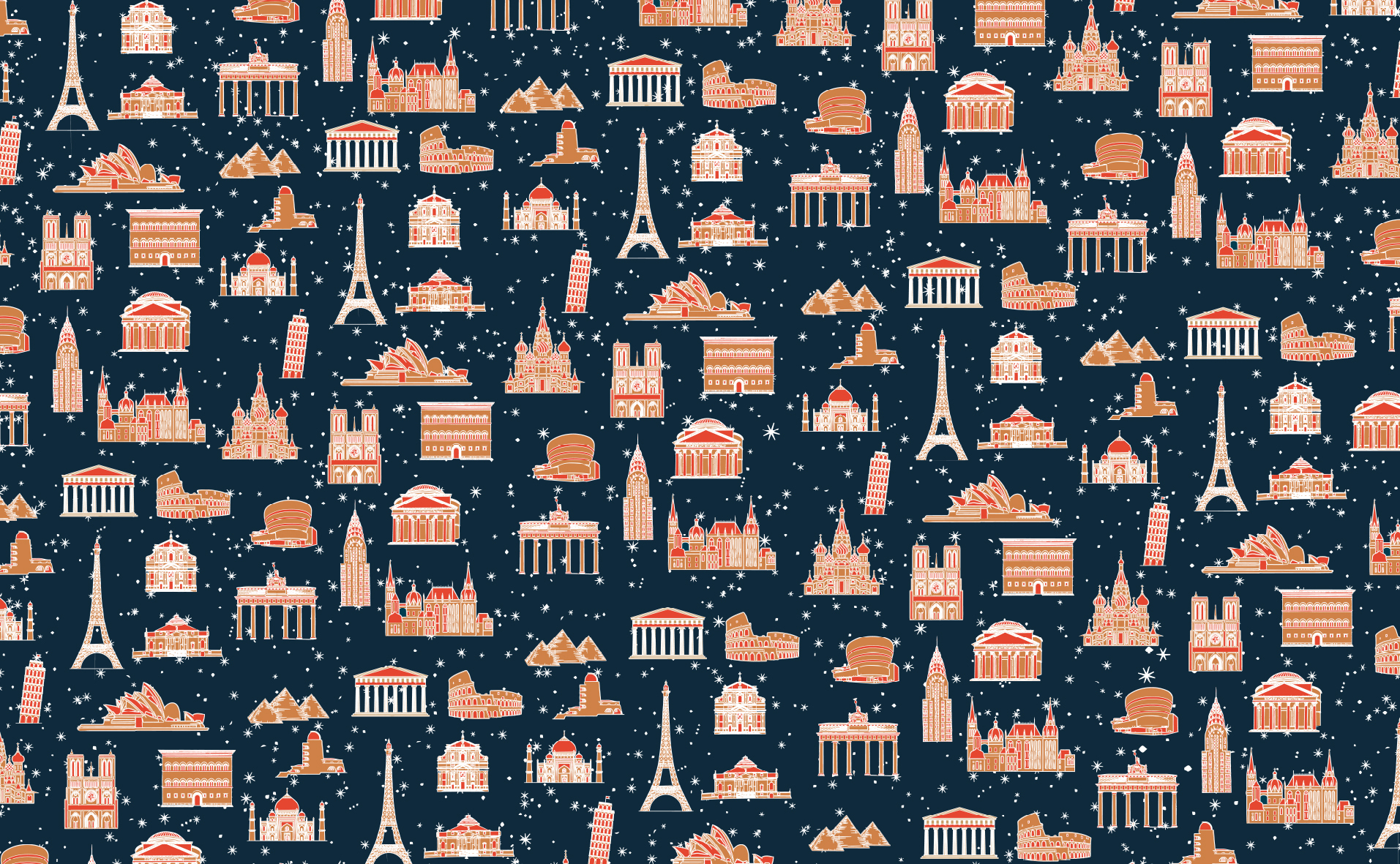 Printen Architecture Icons Christmas Gift Paper