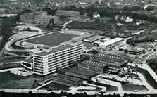 Aerial photograph of the chemical institutes on Professor-Pirlet-Straße