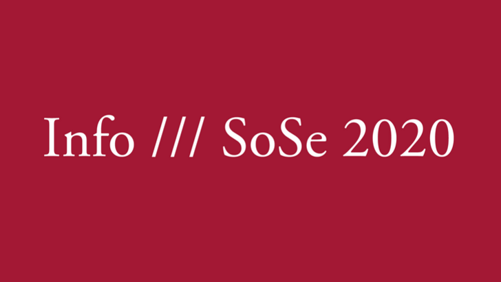 "White letters placed on a bordeaux-colored background saying ""Info /// SoSe2020"""