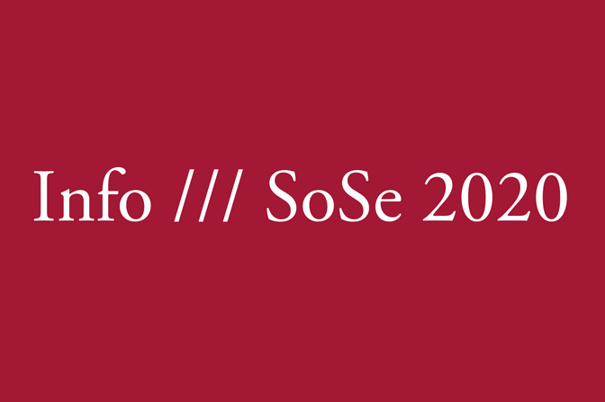 "White letters on a bordeaux-colored background saying ""Info /// SoSe 2020"""