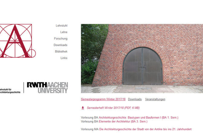 Former website of the Chair of Architectural History